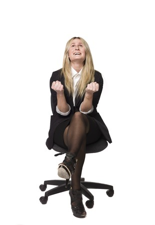 activ: Woman looking happy in a office chair