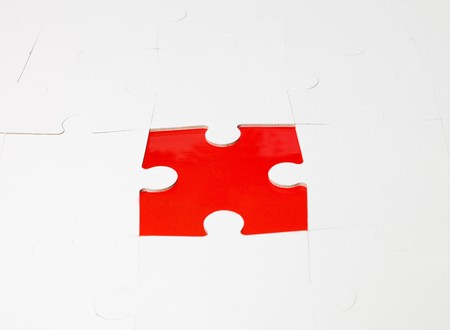inconclusive: White puzzel that missing a piece Stock Photo