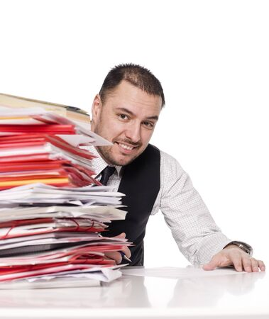 slatternly: Man behind a office desk Stock Photo
