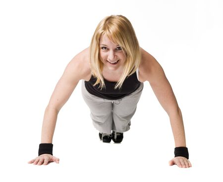 Woman doing push ups Stock Photo - 4468454