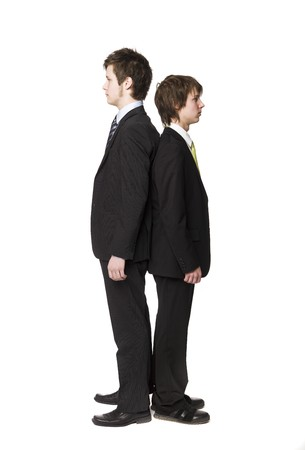 Two men compare length photo