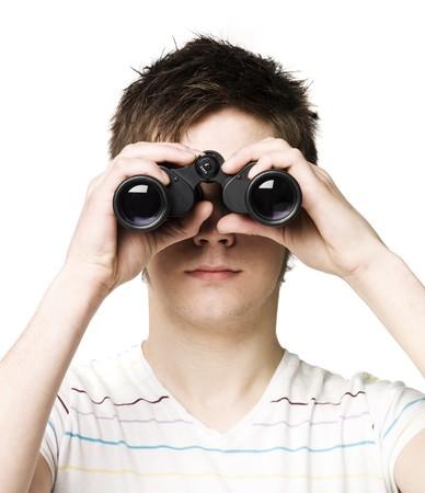 Hombre con binoculares Foto de archivo - 4519610