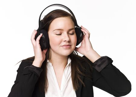 Girl listen to music Stock Photo - 4526287