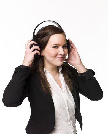 Smiling girl listen to music Stock Photo - 4526812