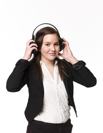 Girl listen to music Stock Photo - 4526288