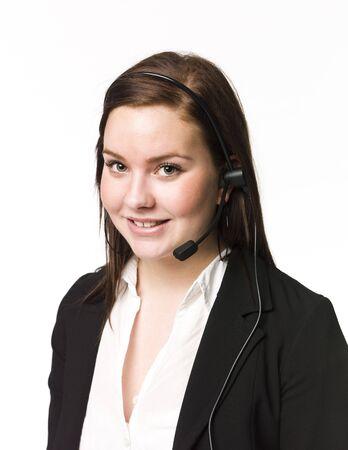 custumer: Woman with a headset Stock Photo