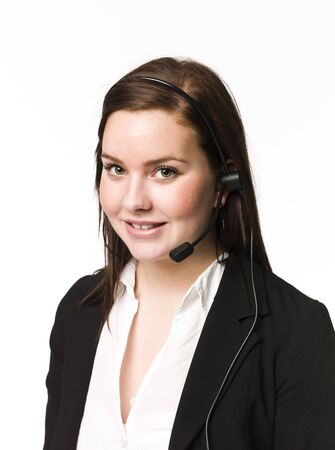 custumer: Woman with a headset Stock Photo