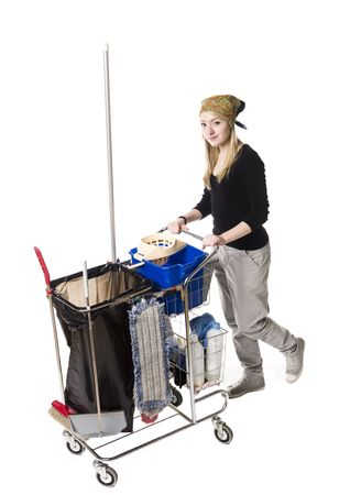 bandana girl: Cleaning lady