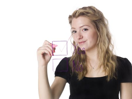 decission: Girl filling in the yes-box Stock Photo