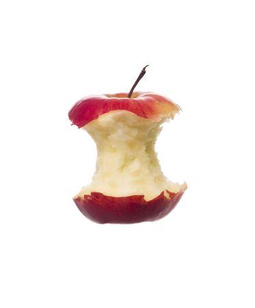 apple bite: Half eaten apple towards white background