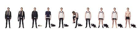 Man taking his clothes of step by step photo