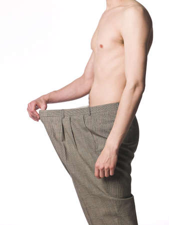 Man with very oversized trousers photo