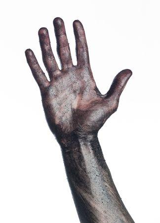 Dirty hand towards white background Stock Photo - 4852596
