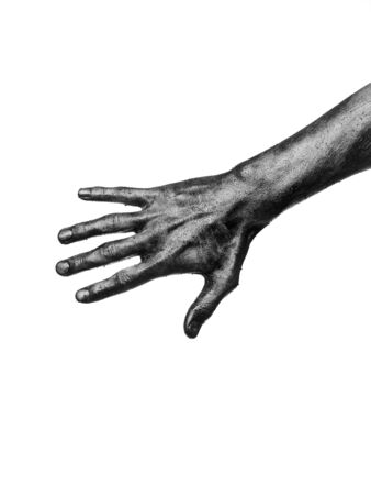 doughy: Dirty hand towards white background Stock Photo