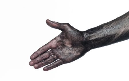 Very dirty hand towards white background Stock Photo - 4852570
