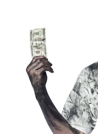 Very dirty hand holding a five dollar bank-note Stock Photo - 4852584
