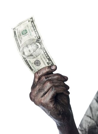 smeary: Dirty hand holding a five dollar bank-note