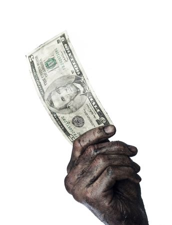 Dirty hand holding a five dollar bank-note Stock Photo - 4852564