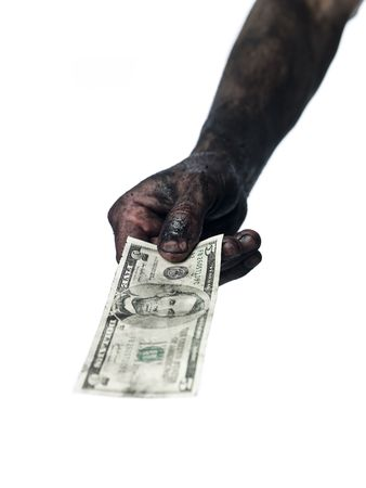 Dirty hand and a five dollar bank-note Stock Photo - 4852567