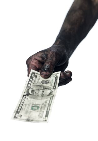 doughy: Hand holding a five dollar bank-note Stock Photo