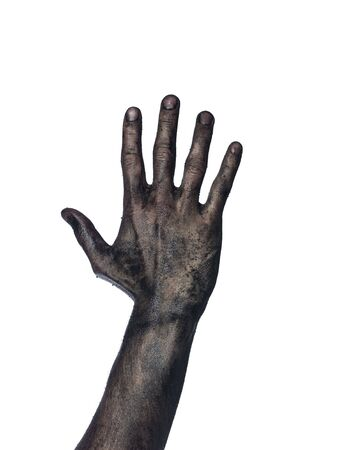 Very dirty hand towards white background Stock Photo - 4852569