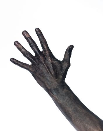 Very dirty hand towards white background Stock Photo - 4852558