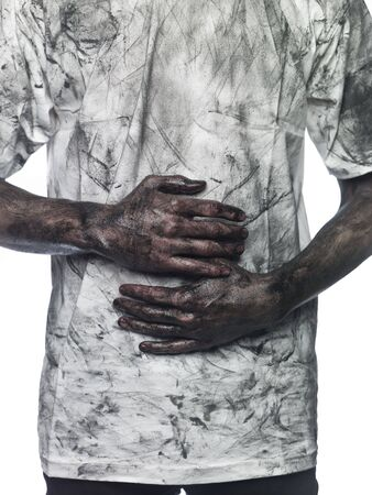 smeary: Dirty hands in front of a dirty shirt Stock Photo