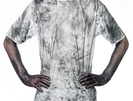 very dirty: Man with a dirty shirt towards white background