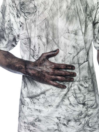 Dirty hand towards a dirty t-shirt Stock Photo - 4852594