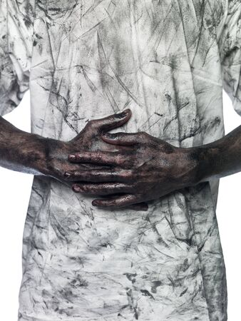 doughy: Dirty hands in front of a dirty shirt Stock Photo