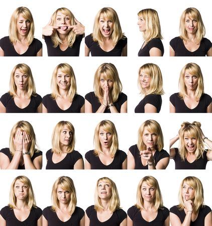 comedian: Twenty portrait of a woman with differnet expressions Stock Photo