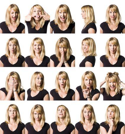 cara triste: Veinte retrato de una mujer con expresiones differnet