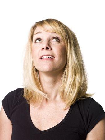 looking upwards: Portrait of a woman looking upwards