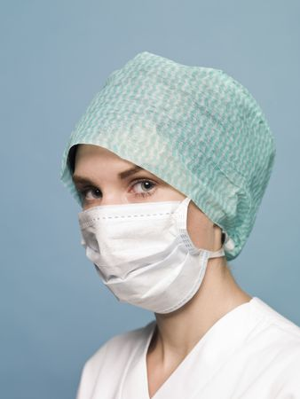 Nurse with surgical mask photo