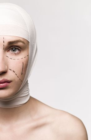 white bandage: Woman prepared for a plastic surgery