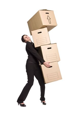 Woman with four boxes photo