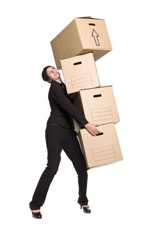 cardboard house: Woman with four boxes