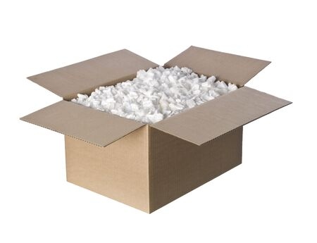 Open Cardboard box with peanuts photo
