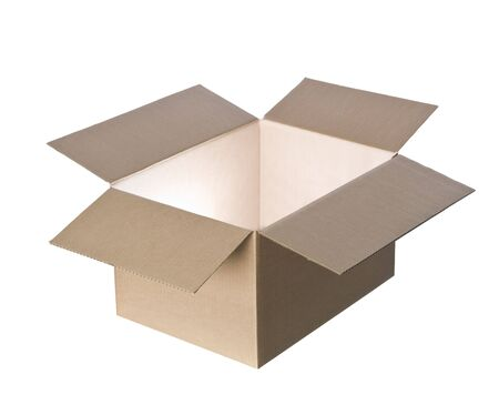 Open cardboard box with light in it photo