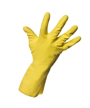 Yellow protection glove isolated on white background photo