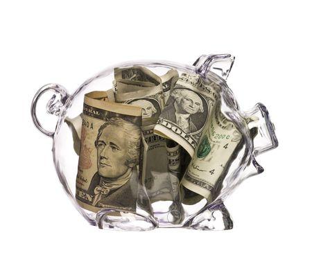 cuenta bancaria: Piggy Bank con d�lares  Foto de archivo