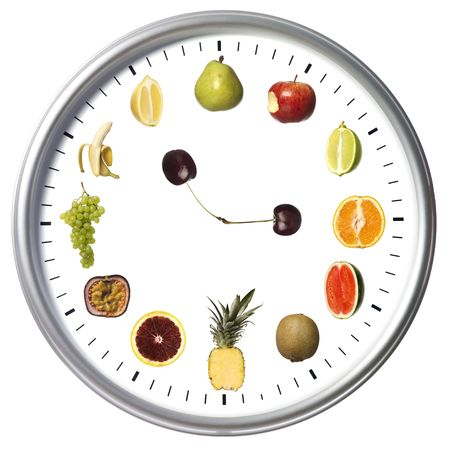 Fruit clock isolated on white photo