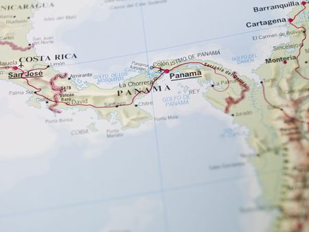 panama city: Map of Panama in central America Stock Photo