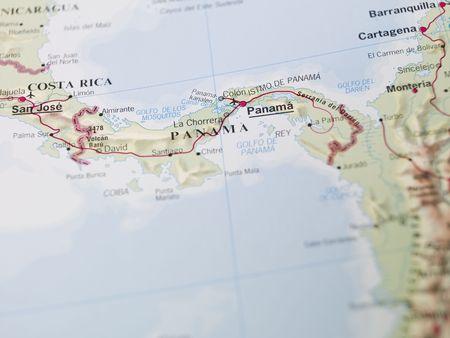 america centrale: Mappa di Panama in America centrale Archivio Fotografico
