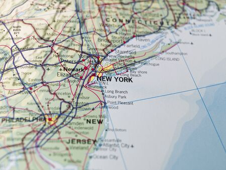 connecticut: Map of New York Stock Photo