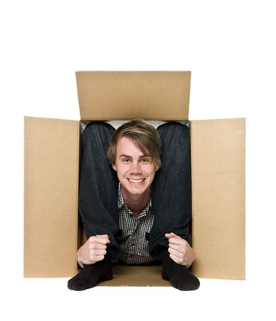 trapped: Acrobat inside of a cardboard box.