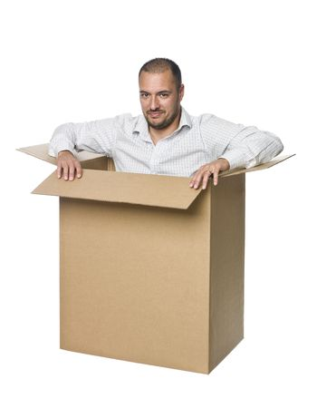trapped: Man in a cardboard box.