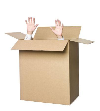 ring finger: Man in a cardboard box.