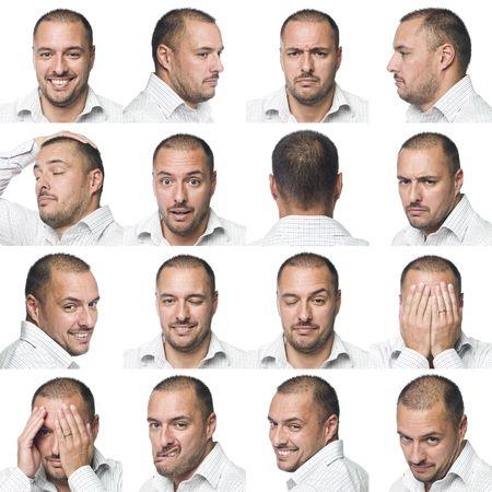 expresiones faciales: Diecis�is de las expresiones faciales de un hombre Foto de archivo
