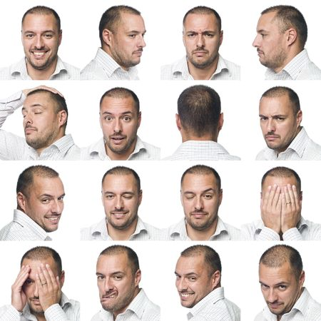 suprise: Sixteen facial expressions of a man Stock Photo